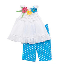 Rare Editions® Girls' 2T-4T White/Turquoise 2-pc. Polka-Dot Set