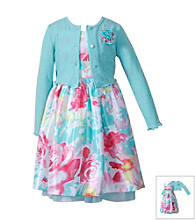 Sweet Heart Rose® Girls' 2T-6X Coral/Aqua Floral Dress with Cardigan