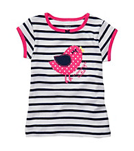 Carter's® Baby Girls' Navy/White Striped Short Sleeve Bird Tee