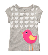 Carter's® Baby Girls' Grey Short Sleeve Bird Tee