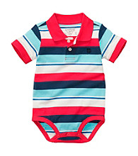 OshKosh B'Gosh® Baby Boys' Red/Blue Striped Short Sleeve Polo Bodysuit