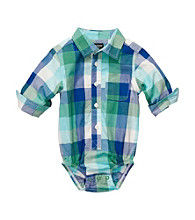 OshKosh B'Gosh® Baby Boys' Blue Buffalo Plaid Long Sleeve Woven Bodysuit