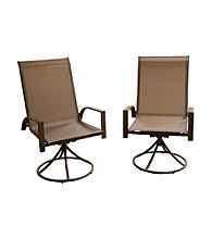 Mission Gallery Set of 2 Textilene Swivel Rocking Patio Chairs