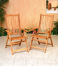 Mission Gallery Set of 2 Acacia Wood Folding Chairs