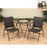 Mission Gallery 3 pc. Brown Folding Resin Wicker Bistro Set