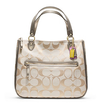 COACH POPPY SIGNATURE METALLIC HALLIE TOTE