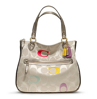 COACH POPPY EMBROIDERED SIGNATURE C HALLIE TOTE