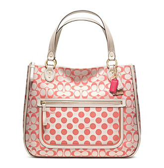 COACH POPPY SIGNATURE C DOT HALLIE TOTE