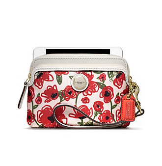 COACH POPPY FLOWER PRINT DOUBLE ZIP WRISTLET