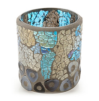 LivingQuarters Blue and Gold Mosaic Glass Votive Holder