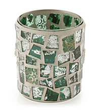 LivingQuarters Green Mosaic Glass Votive Holder