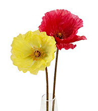 LivingQuarters Flocked Poppy Flower Stem
