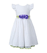 Sweet Heart Rose® Girls' 2T-6X White Ruched Dress with Lime Belt