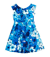 Rare Editions® Girls' 7-16 Blue/White Floral Print Cap Sleeve Dress