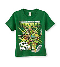 Nickelodeon® Boys' 4-7 Green Short Sleeve Teenage Mutant Ninja Turtles Pizza Break Tee