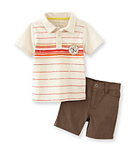 Calvin Klein Jeans® Boys' 2T-7 Brown 2-pc. Striped Polo Shorts Set
