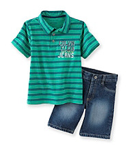 Calvin Klein Jeans® Boys' 2T-7 Green 2-pc. Striped Polo Shorts Set