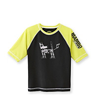 Mambo&Reg; Boys' 4-20 Black/Lime Colorblock Rash Guard