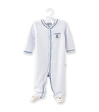 Cuddle Bear® Baby Boys' Cloudy Blue Striped Bear Pocket Footie