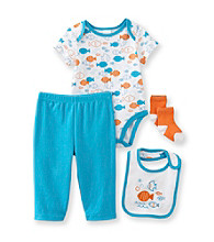 Cuddle Bear® Baby Boys' 4-pc. Fish Print Take-Me-Home Set
