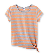 Miss Attitude Girls' 7-16 Striped Side Tie Tee