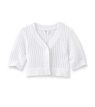 Little Miss Attitude Girls' 2T-6X White One Button Pointelle Cardigan