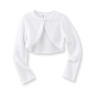 Miss Attitude Girls' 7-16 White Long Sleeve Hi-Lo Hem Cardigan