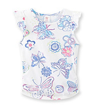 Little Miss Attitude Girls' 2T-6X Butterfly Print Flutter Sleeve Tank