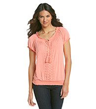 Oneworld Scoopneck Peasant Top With Crochet Overlay