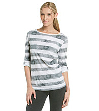 Calvin Klein Performance Boatneck Striped Water Stain Tee