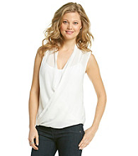 DKNY JEANS® Sleeveless Draped Wrap Blouse
