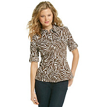 Jones New York Sport® Animal Print Roll Sleeve Shirt
