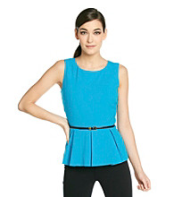 Calvin Klein Sleeveless Peplum Top With Belt