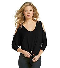 Karen Kane® Cold Shoulder Tie Front Top