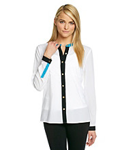 Calvin Klein Contrast Trim Buttondown Blouse