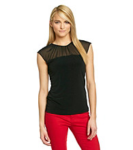 Calvin Klein Cap Sleeve Sheer Top