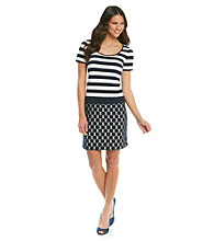 Muse Stripe Knit And Lace Combo Dress