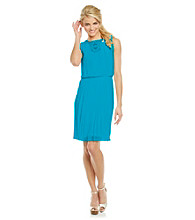 Jessica Simpson Blouson Pleated Lace Dress