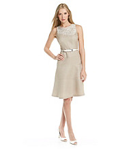 Anne Klein® Embroidered Basketweave Dress