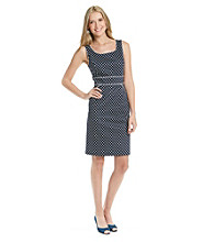 Tahari by Arthur S. Lavine® Scoopneck Dot Sheath Dress