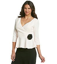 Cachet® Wrap Blouse with Rosette