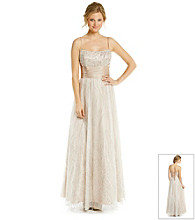 Cachet® Strapped Beaded Glitter Gown