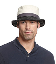 Isotoner® Lake of the Isles™ Men's Charcoal Canvas Colorblock Bucket Hat