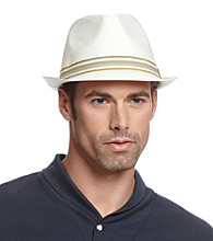 Isotoner® Lake of the Isles™ Men's Cream Linen-Look Fedora with Stripe Band