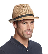 Isotoner® Lake of the Isles™ Men's Black & Khaki Open Weave Straw Fedora