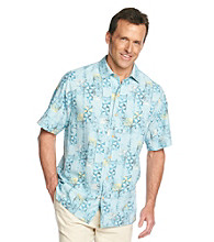 Paradise Collection® Men's Aquamarine Short Sleeve Aztec Print Silk Woven