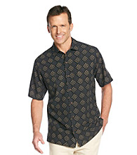 Paradise Collection® Men's Midnight Black Short Sleeve Geo Print Silk Woven Shirt