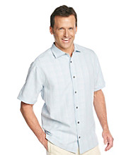 Paradise Collection® Men's Short Sleeve Tonal Windowpane Polynosic Shirt