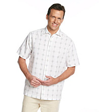 Paradise Collection® Men's Classic White Short Sleeve Large Grid Polynosic Shirt
