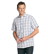 Paradise Collection® Men's Hi-Rise Gray Short Sleeve Large Plaid Polynosic Shirt